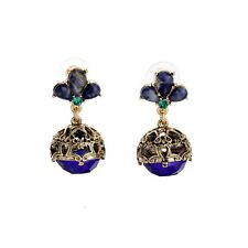 ZARA ELEGANT GOLD ROYAL BLUE ROUND BALL DROP DANGLE EARRINGS NEW