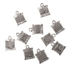 cotton reel sewing thread needlework Tibetan Silver Bead charms Pendants 15*11mm