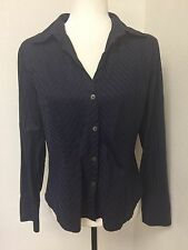 Banana Republic Womens Sz M Navy Blue Cotton Shirt Striped Top
