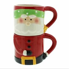 Santa Claus Set of 2 Christmas Stacking Mugs NEW Gift  24602