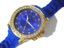 Bling Bling Big Case Rubber Band Ladies & Girls Watch Blue Item 2575