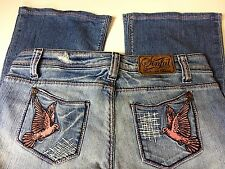Sinful By Affliction Women's Jeans 29 X 28 Mid Rise Wide Leg Boot Cut  Birds