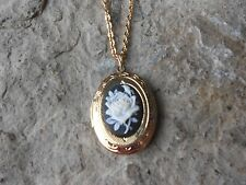 """WHITE ROSE ON BLACK CAMEO GOLD PLATED LOCKET - QUALITY - 1"""""""