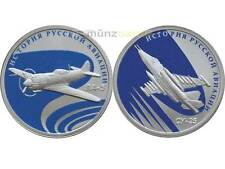 2 x 1 Rubel LA-5 & SU-25 Russian Aviation Flugzeuge Russland Silber PP 2016
