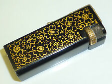 VINTAGE LIFTARM PETROL MINI LIGHTER W. FLOWER MOTIVE -BLACK LACQUER/PAINTED-NICE