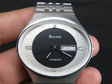 NEW NOS 41mm BULOVA 2836 SWISS ETA STAINLESS STEEL DAY DATE AUTOMATIC MENS WATCH