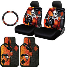 FOR VW NEW HARLEY QUINN CAR SEAT COVERS FLOOR MAT STEERING WHEEL COVER SET