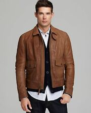 Vince Camel Brown Soft Leather Bomber Jacket Size XL NWT $995
