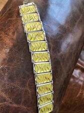 RAREvintage Norway yellow David Andersen Blue Enamel Waves Wide Rare Bracelet