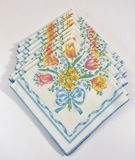 """Set of 8 Floral Cloth Dinner Napkins Tulips Ribbon Cotton Polyester 17"""" x 16"""""""