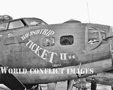USAAF WW2 B-17 Bomber Roundtrip Ticket II 8x10 Nose Art Photo 385th BG WII