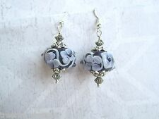 *CHUNKY DEEP PURPLE SWIRL FLOWER LAMPWORK GLASS BEAD* SP Drop Earrings Gift Bag