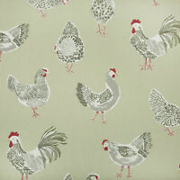 Sage Green Chickens/Roosters PVC, Wipeclean, Vinyl, Oilcloth Tablecloth