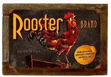 ROOSTER Brand Lemons repro fruit crate label metal sign on wooden frame 15x21""