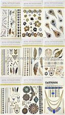 US Seller - 9 sheets gold silver metallic temporary tattoo jewelry fake tatoos