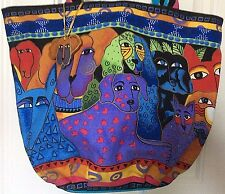 LAUREL BURCH Artistic Tote CATS AND DOGS Large Travel Bag Zippered Top
