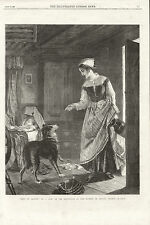 MOTHER INSTRUCTS BORDER COLLIE TO GUARD BABY CHARMING 1869 ANTIQUE DOG PRINT