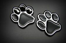 (2) 3D PAWS DOG CAT  3D CHROME BLACK ANIMAL PAWS STICKER, EMBLEM DECAL FROM USA