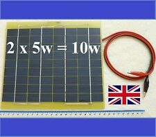 Very Light 2 x 5w = 10w Solar Panel 12v Charger c/w 2m cable Block Diode & Clips