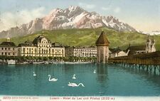 Alte AK/Vintage postcard: LUZERN - Hotel du Lac und Pilatus (gel. 1908)
