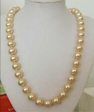 12mm AAA Golden South Sea Shell pearl necklace 24""