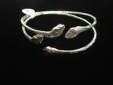 Pair Of Snake Head Handmade West Indian Sterling Silver Bangles