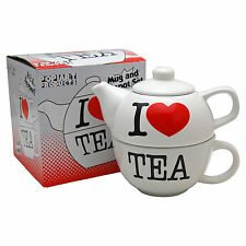 I LOVE TEA TEAPOT FOR ONE -  Novelty Tea Pot Cup Set - HOME OFFICE KITCHEN