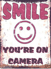 SMILE YOUR ON CAMERA SIGN RETRO VINTAGE STYLE 8x10in 20x25cm pub bar shop art