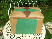 Vintage Leatherette Art Deco 1930/40's Pouffee Poof Stool Sewing Box Storage