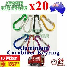 20x Carabiner Clip Key Ring Holder Chain Cable Hiking Hook Lock Camping D Shape