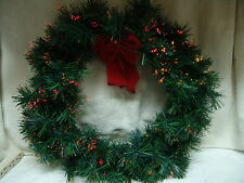 CHRISTMAS FIBER OPTIC WREATH BLINK/STEADY LIGHTS ORIG BOX FREE SHIPPING