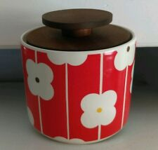 Orla Kiely Small Storage Jar Container with wooden lid Abacus/Red flower NEW