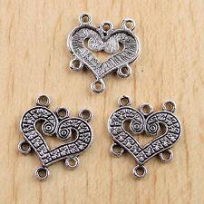 20pcs Tibetan Silver Heart Connectors Findings H0560