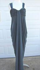 BEAUTIFUL JS BOUTIQUE RUCHED CHARCO GRAY GOWN DRESS SIZE 8