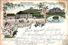 11308/ Litho AK, Gruss aus Jonsdorf, Bahnpost, 1906