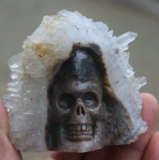 301g  Rare Awesome Natural Crystal Cluster Point Quartz Skull Healing Carving