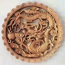 EXQUISITE CHINESE HANDWORK CAMPHOR WOOD CARVED DRAGON PLATE WALL SCULPTURE NR 02