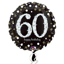 Black and Gold  Celebration 60th Birthday Foil Helium Balloon