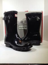 Hunter Original Short Gloss Women's Size 7 Black Mid Calf Rain boots ZT-363