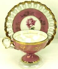 Vtg Norcrest Pink Roses Reticulated Footed Teacup & Saucer Japan