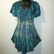 Top Fits 1X 2X 3X Plus Blue Green Stamp Art Tie Dye Lace Up A Shaped NWT G7875