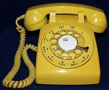 1964 RECONDITIONED WESTERN ELECTRIC C/D 500 YELLOW ROTARY DESK PHONE WORKING