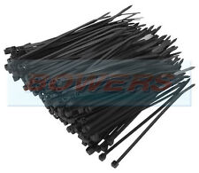 PACK OF 100 BLACK NYLON PA66 UL APPROVED 200mm x 2.5mm CABLE TIES 8KG STRENGTH