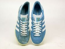MENS ADIDAS GAZELLE BLUE SUEDE VINTAGE CLASSIC PLIMSOLL TRAINERS UK SIZE 8 FADED
