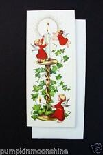 Unused Erica Von Kager Brownie Xmas Greeting Card Angels Lighting Holiday Candle