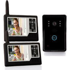 """2.4G 3.5"""" LCD Wireless Video Door Phone Intercom Doorbell + 2 Security Monitors"""