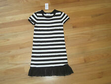Girl SEQUINS STRIPES BLACK AND WHITE SWEATER Dress NWT 5 6