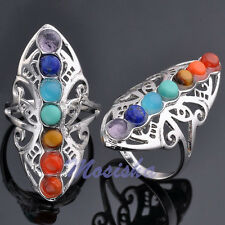 1X 7 Chakra Gemstone Healing Reiki Point Hollow Butterfly Ring us9 Adjustable M