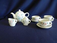 Pretty Port Ltd Blue Petunia Miniature Doll House Fine China Tea Set Lot! Nice!