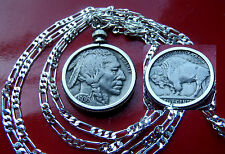 """Handsome American Buffalo Nickel year 1936 on a 30"""" 925 Sterling Silver Chain"""
